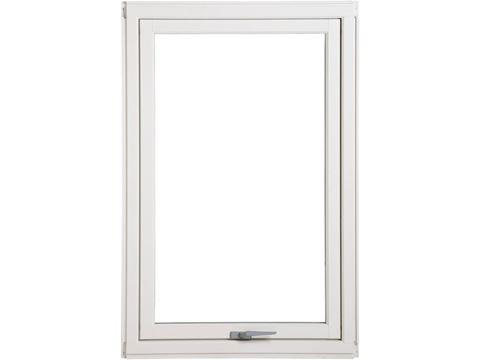 Lite firkantet vindu med hvit karm