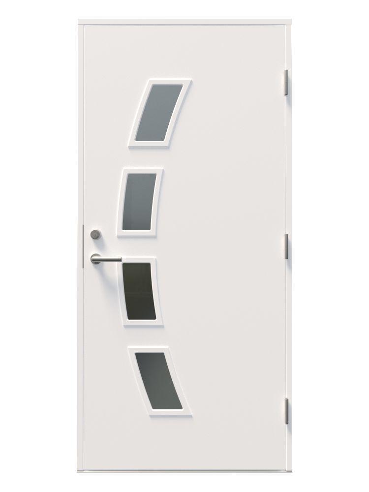 moderne hvit ytterdør med fire mindre vinduer i en bue